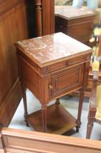 French Henri II nightstand with marble top, approx 80cm H
