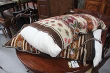 Two old hand woven sacks, made into cushions (2)