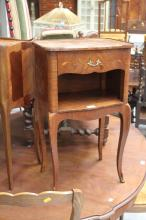 French nightstand with open shelf below, approx 72cm H