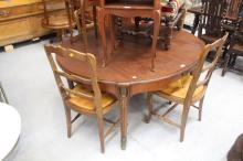 French oval dining table with bronze mounts, approx 72cm H x 148cm W x 126cm D