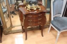 French parquetry nightstand, approx 74cm H x 56cm W x 31cm D