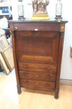 French Empire style secretaire abattant, with marble top, approx 141cm H x 86cm W x 43cm D