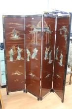 Chinese floor screen, four panels, each panel approx 182cm H x 46cm W