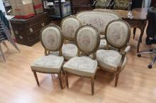French five piece lounge suite, comprising of lounge, two armchairs & two single chairs (5)