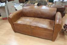 Vintage French Leather sofa, approx 160cm L
