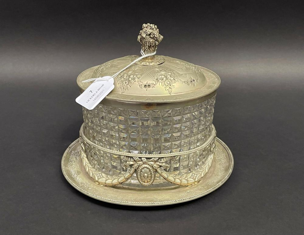 Antique silver plated oval lidded biscuit barrel, 23cm H x 15cm W