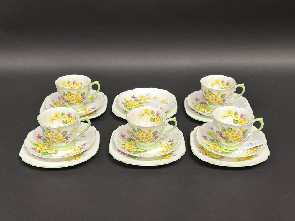 Royal Albert Primulette cups, saucers and plates for 5 plus extras (17)