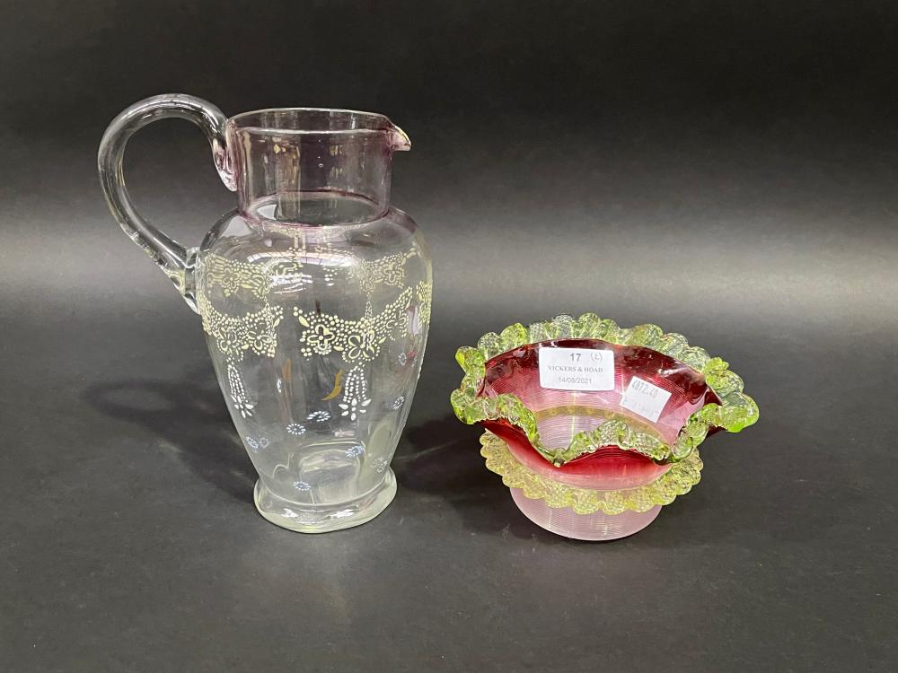 Antique Victorian ribbed ruby glass bowl and a Victorian jug, approx 18cm and smaller (2)