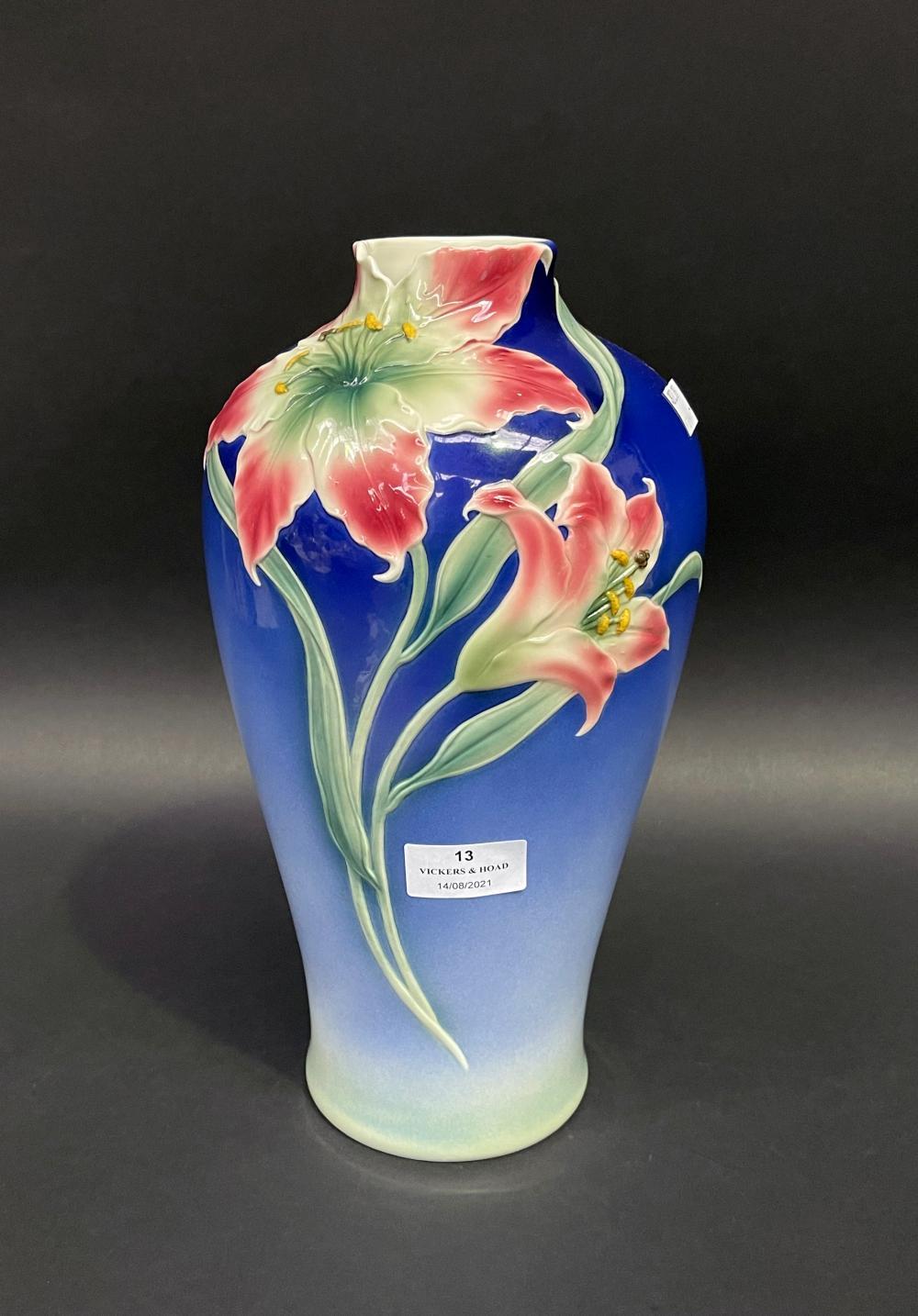 Decorative Franz Art Nouveau style vase, approx 32cm H