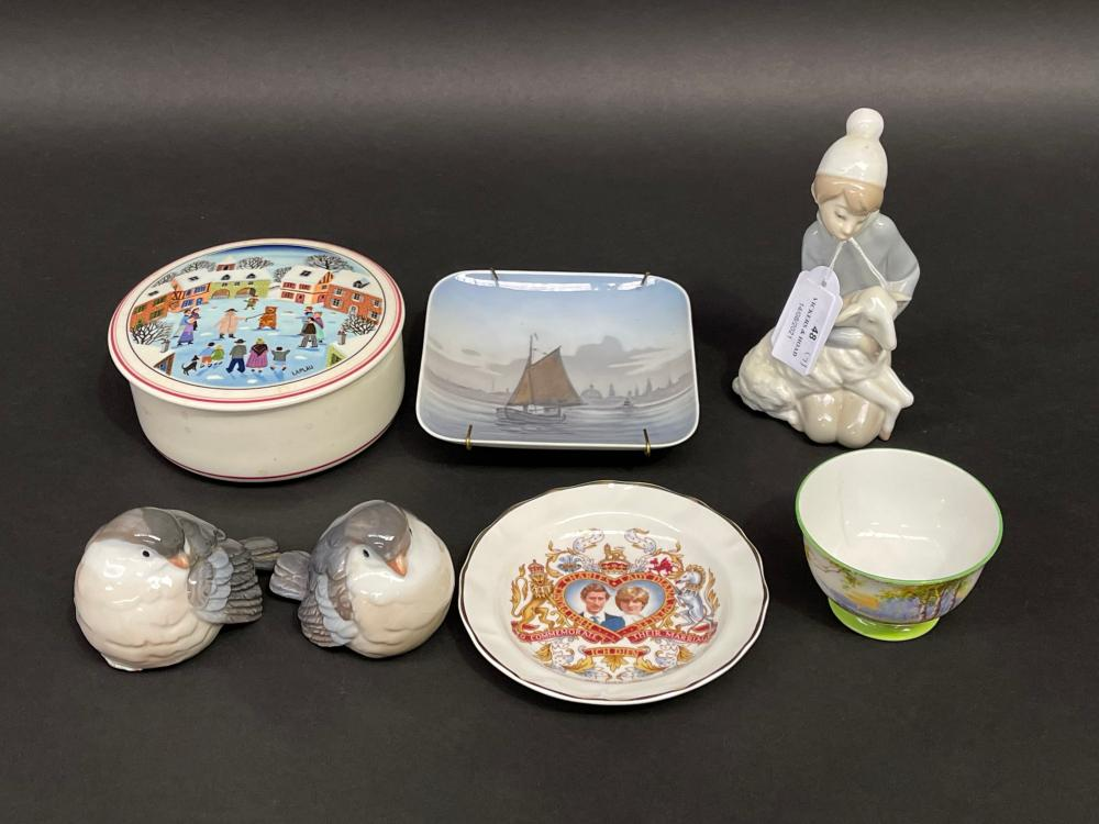Selection of estate china to include Lladro shepherd boy and lamb, birds, Villeroy and Boch box etc, approx 15cm and smaller