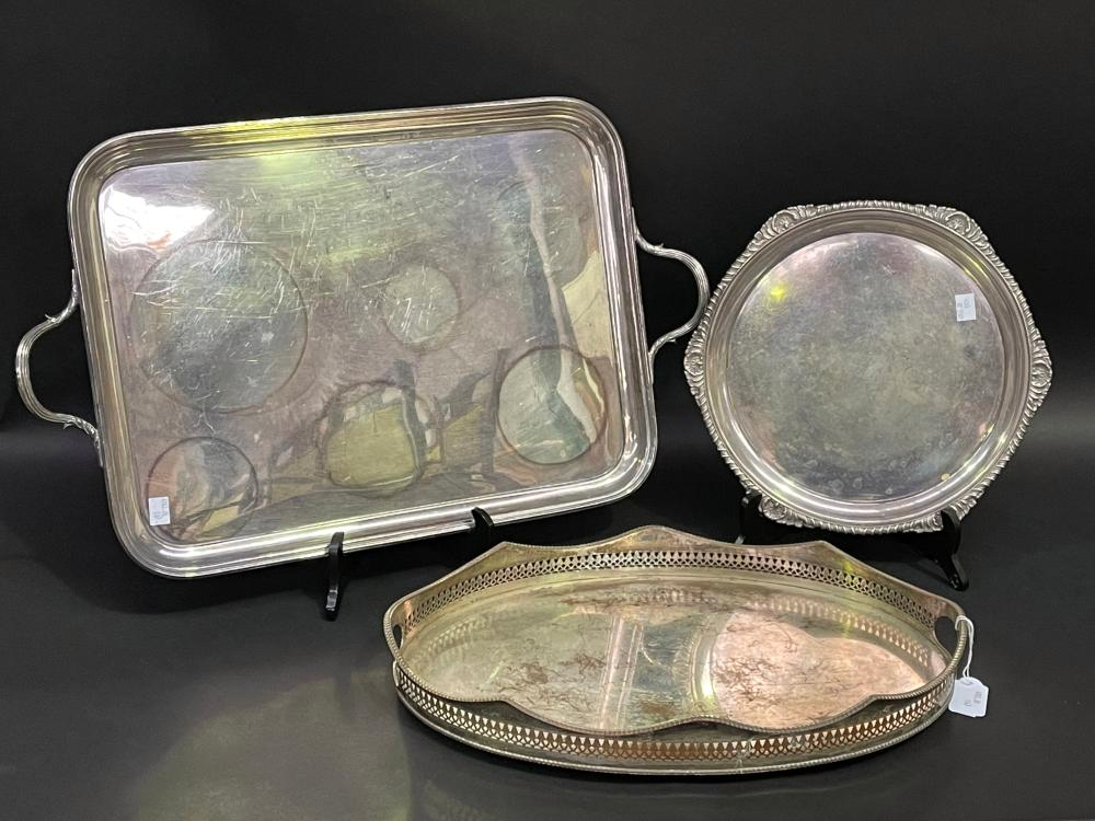 Service tray to include rectangular twin handled example, Sheffield plate pierced example etc, approx 62cm x 38cm smaller (3)