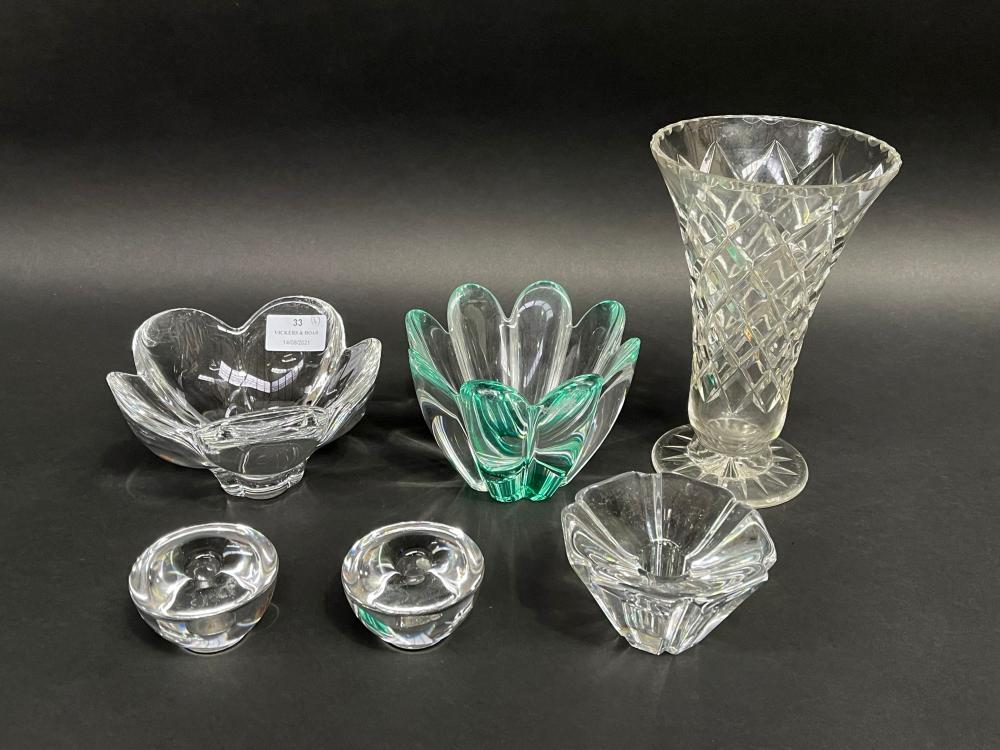 Assortment of art glass to include bowls, candle holders and vase, to include Orrefors, approx 20cm and smaller (6)