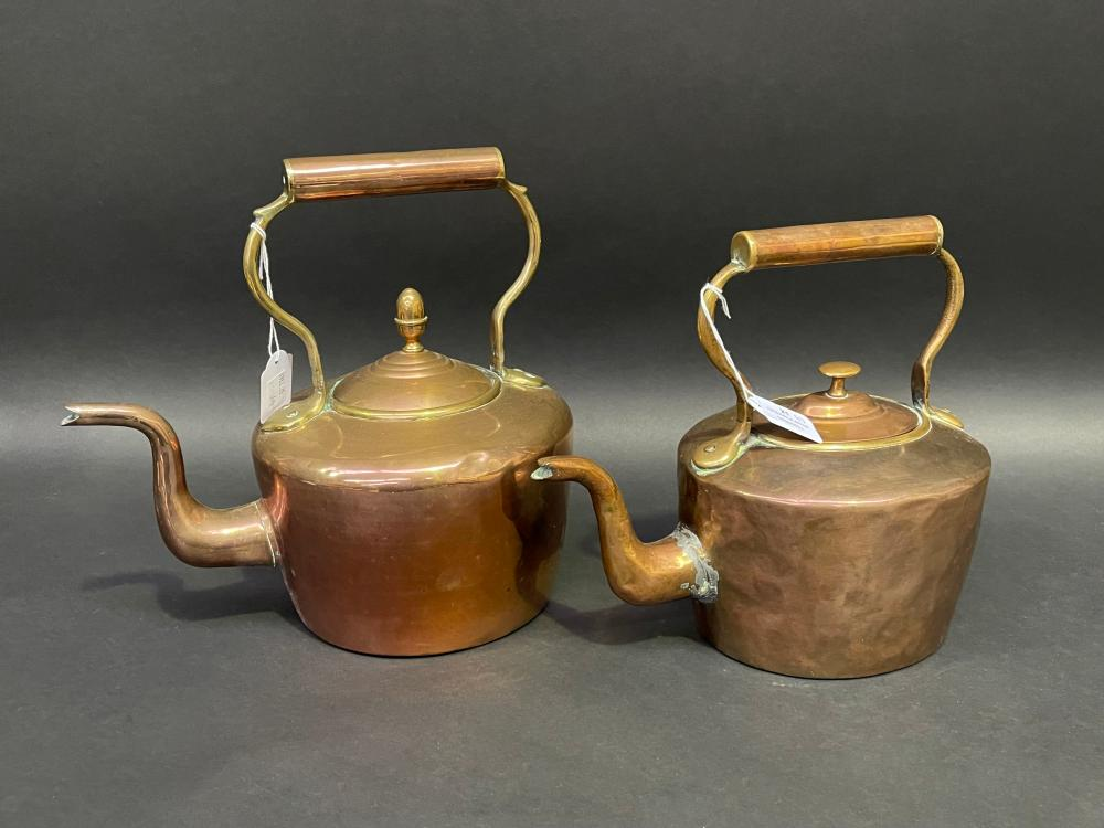 Two antique English copper and brass kettles (2)
