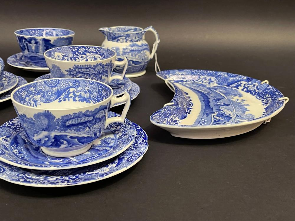Selection of Spode blue and white tea ware, six cups, saucers, plates and extras, sugar bowl, jug etc