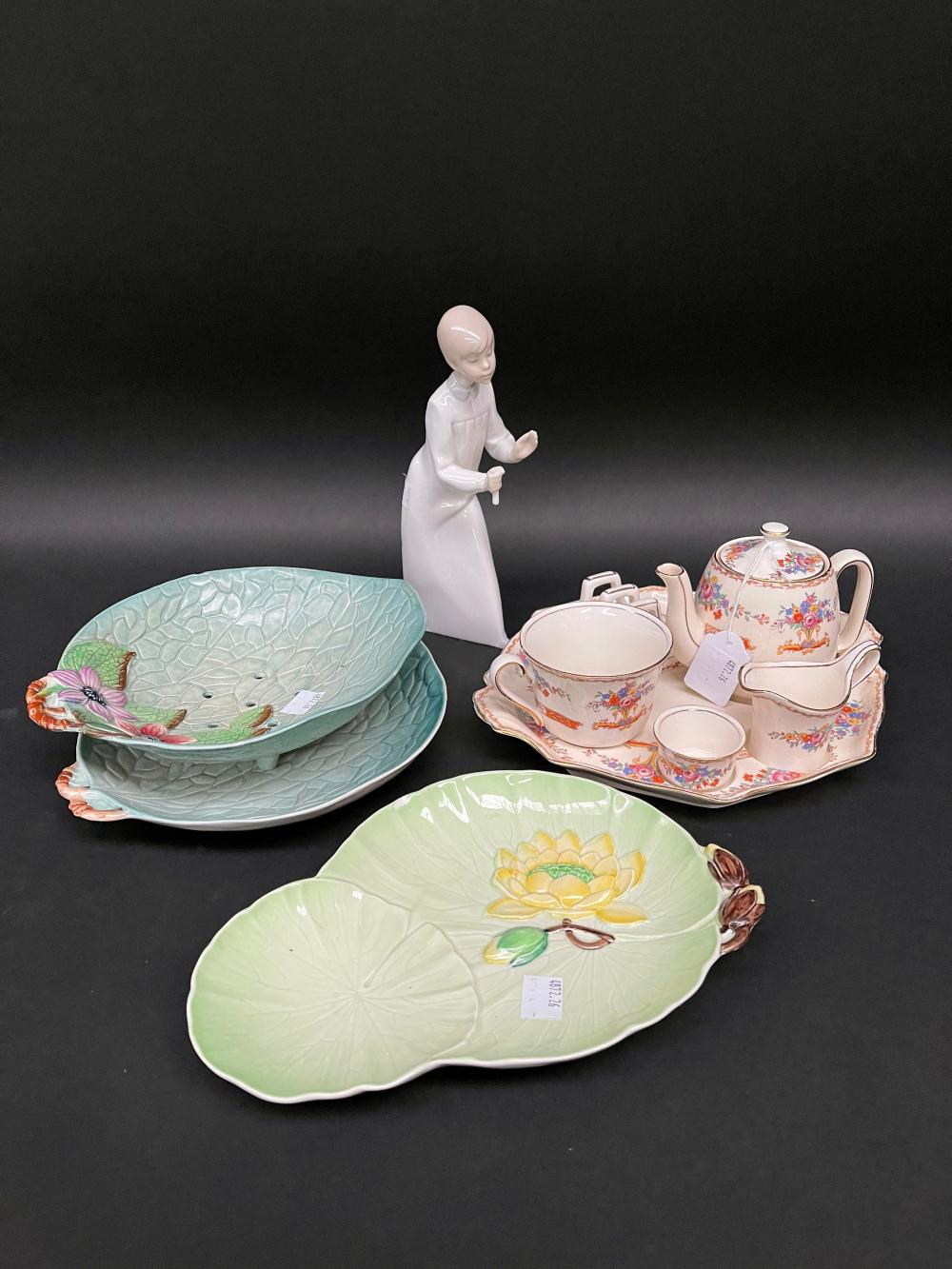 Carlton Ware lettuce strainers, another and Lladro style figure, etc, approx 22cm H and smaller