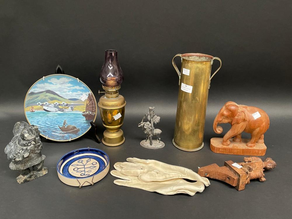 Selection, Trench art brass vase, epergne base, hard stone piece etc
