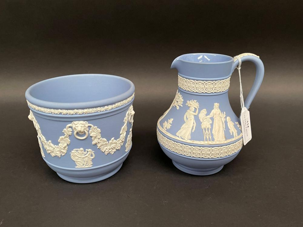 Wedgwood blue jasper ware jardiniere and jug, approx 14.5cm H and 11cm H (2)