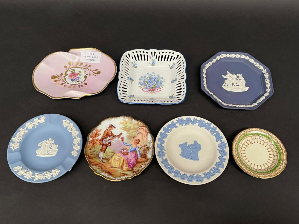 Assortment of pin dishes etc, Limoges, Wedgwood etc