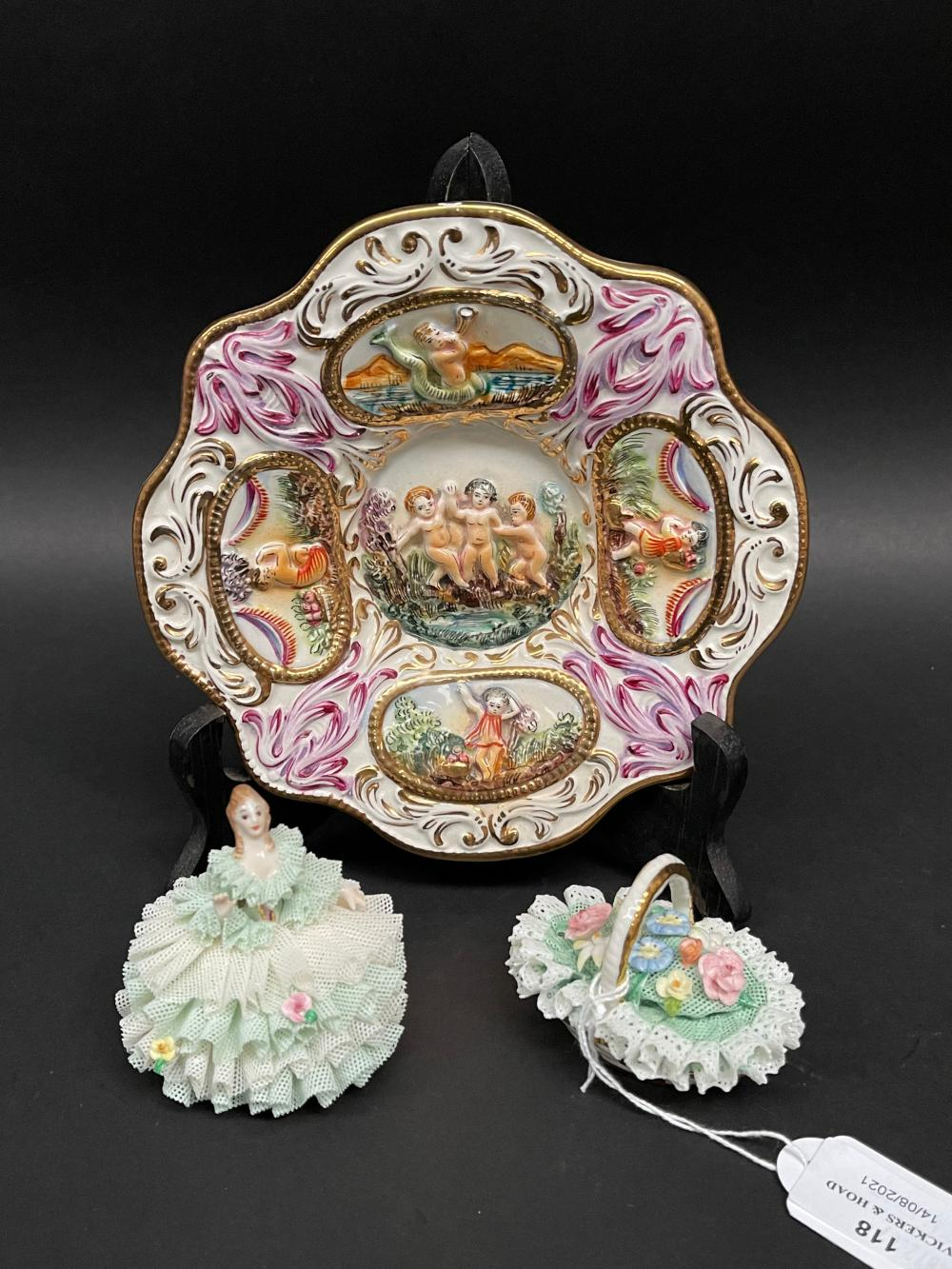 Capodmonte dish and two Irish Dresden pieces a basket and a lady, approx 18cm Dia and smalller (3)