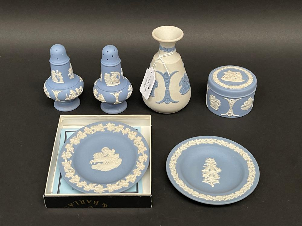 Wedgwood blue and white jasper ware, approx 12cm and smaller (6)