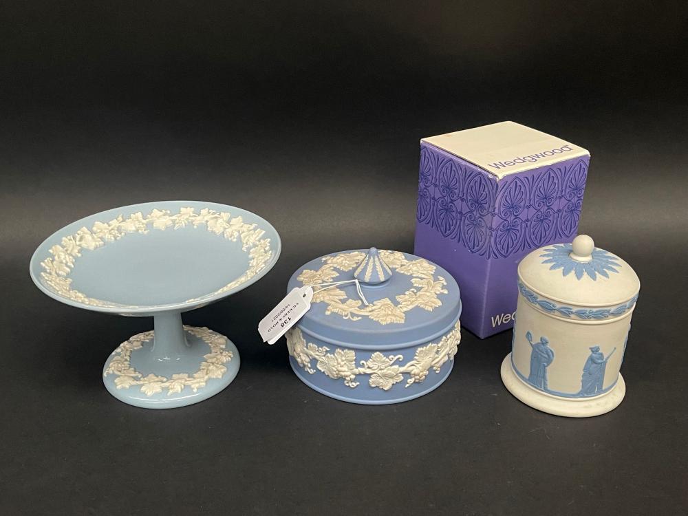 Wedgwood blue jasper lidded circular trinket, cigarette lidded pot and a comport, approx 12cm H and smaller (3)