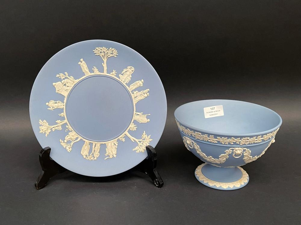 Wedgwood blue jasper ware comport and plate, approx 12.5cm H (2)