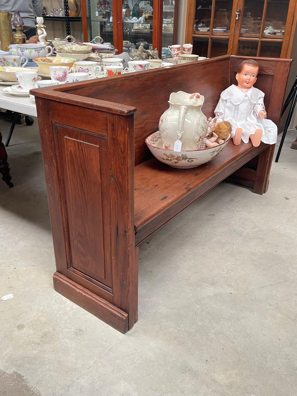 Antique American Pennsylvanian bench, approx 83cm H x 151cm W