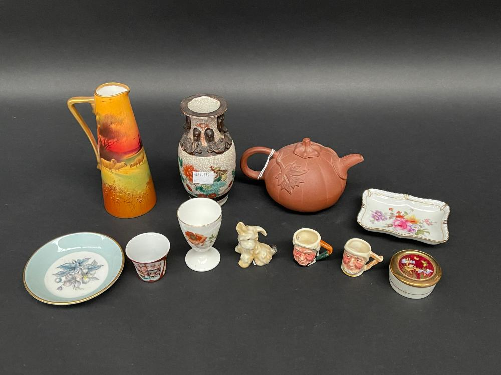 Assortment to include Royal Doulton jug with sheep, egg cup, Sylvac Dog, two Lancaster miniature character jugs, Royal Crown Derby pin dish and a Worcester example, approx 15cm H and shorter along…