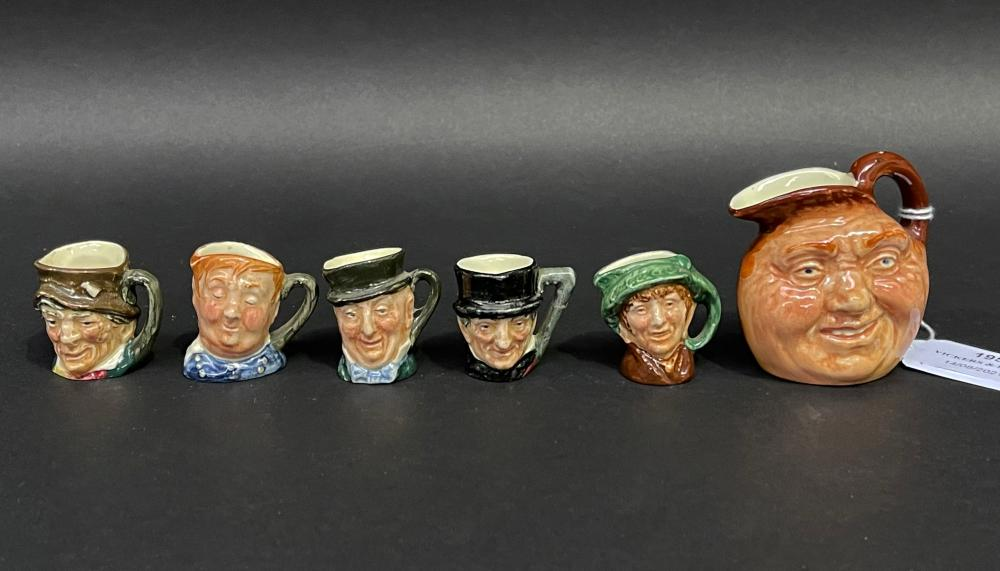 Selection of Royal Doulton miniature Toby jugs, approx 6cm and smaller (6)