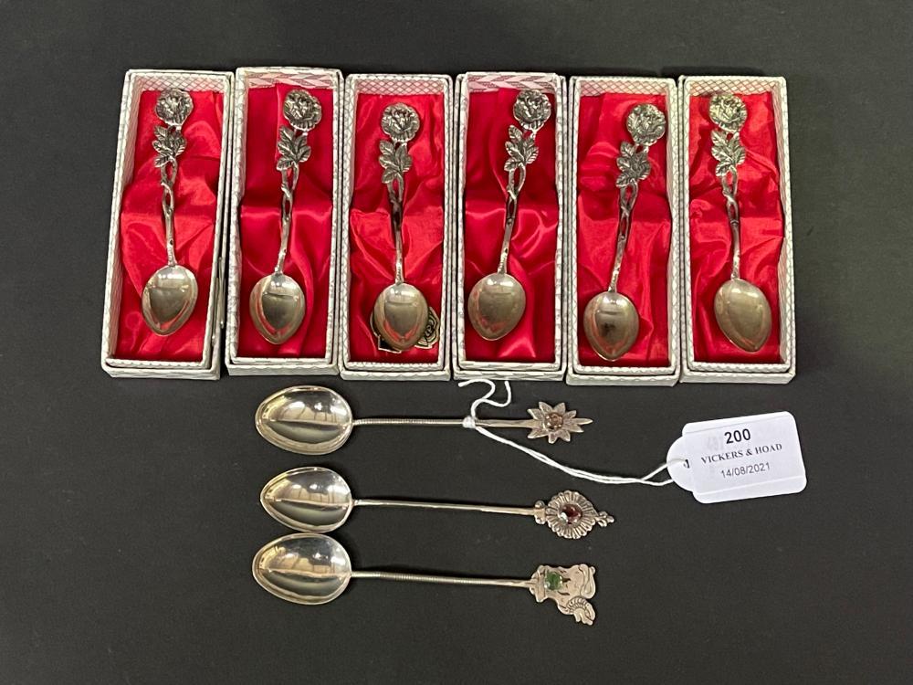 Set of six Hilesheim Rose silver teaspoons along with three silver semi precious stones (9)