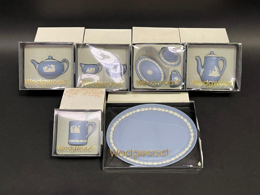 Wedgwood miniatures, tray teapot, sugar, creamer, cup, saucer, plate, coffee tankard, approx 16.5cm and smaller