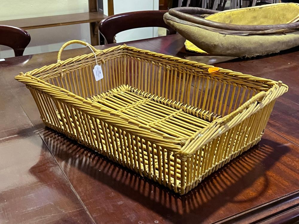 Vintage French Rectangular cane basket, approx 53cm x 38.5cm D