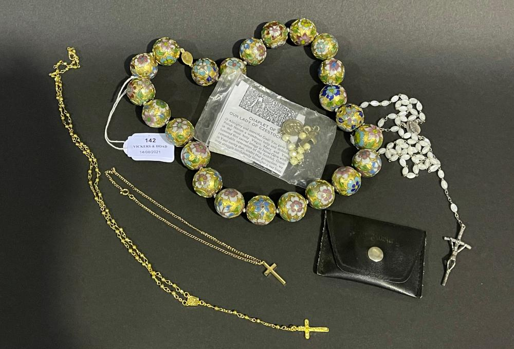 Assortment of jewellery to include costume, rosary beads, cloisonne etc