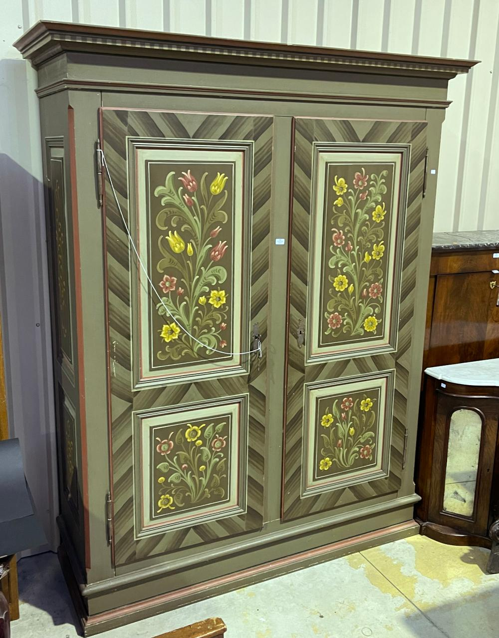 Large antique Swiss painted two door armoire, approx 223cm H x 178cm W x 63cm D