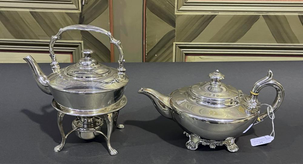 Antique old Sheffield plate tea pot along with a antique spirit kettle on warming stand with burner, approx 24cm and smaller (2)
