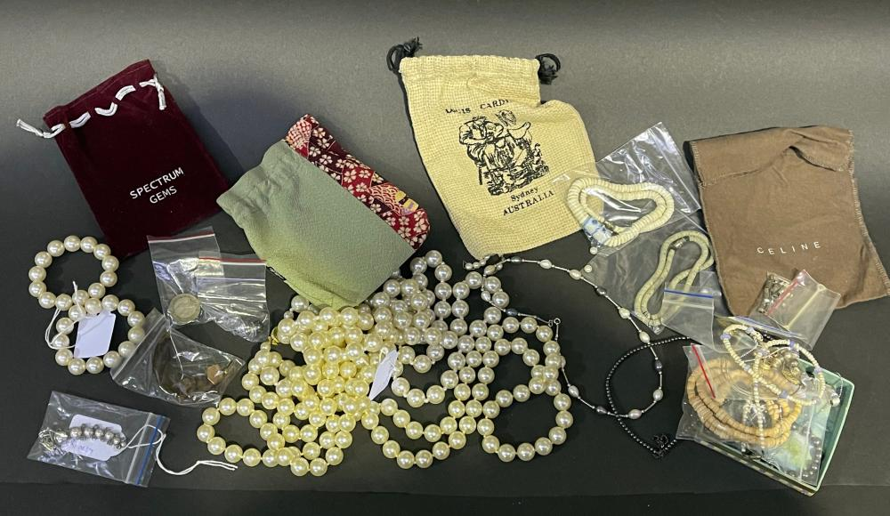 Assortment of jewellery parts rondels clips etc, Collection pearl necklace and bracelet and other necklaces