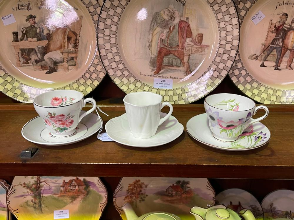 Three Shelley cups and saucers, Anemone, Bridesmaid and dainty (3)