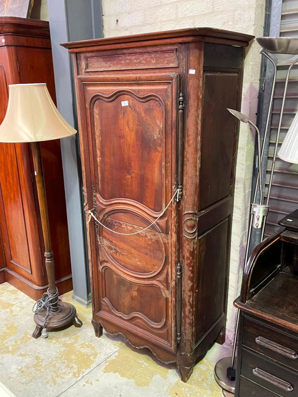 Antique early 19th century French walnut single door armoire with glass shelves, approx 183cm H x 87cm W x 54cm D