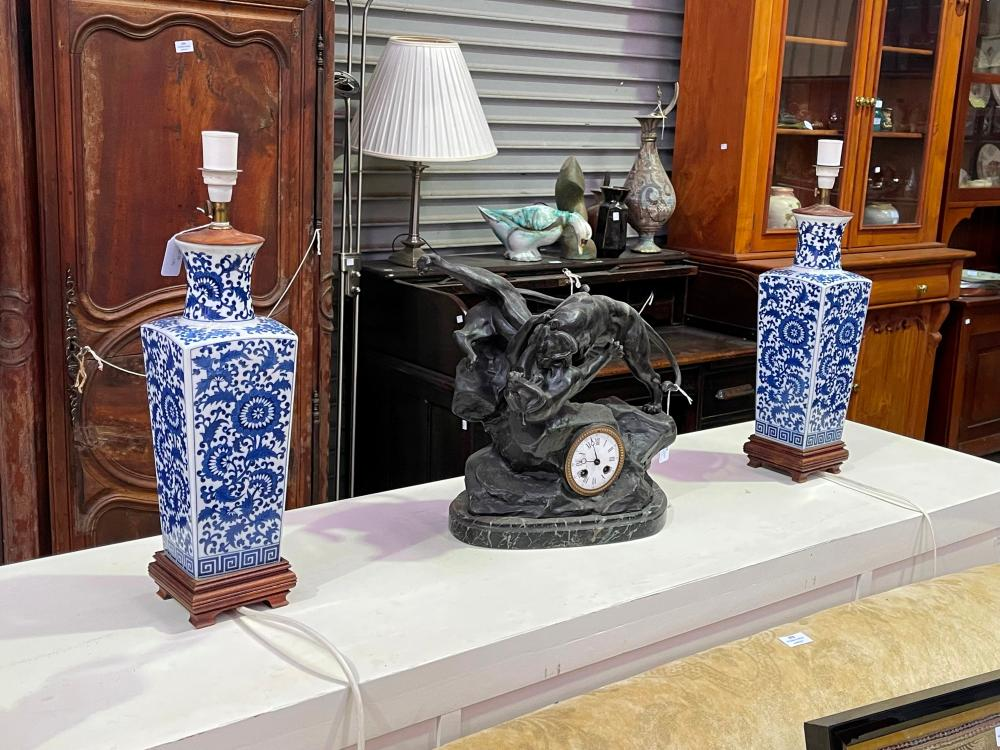 Pair of Chinese blue and white square tapering lamps, wooden bases, approx 52cm including fittings (2)