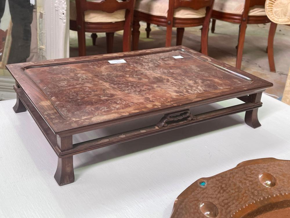 Vintage Chinese burr hard wood tea table, approx 46cm x 31cm