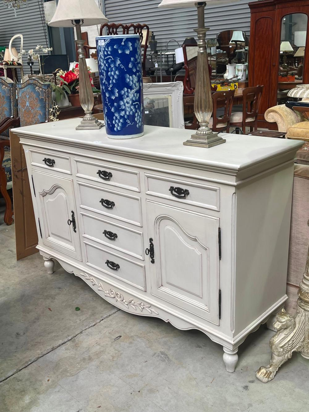 Painted Country Corner French style sideboard, approx 95cm H x 154cm W x 48cm D
