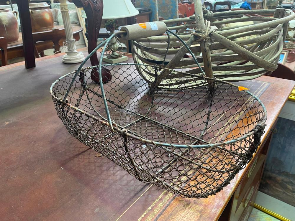 Old French wirework basket of oval shape, approx 53cm W