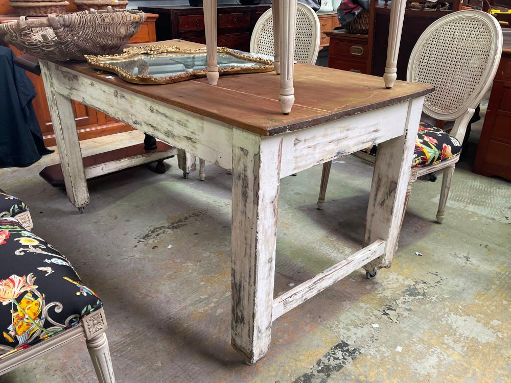 Antique rustic kitchen table on castors, approx 154cm L x 82cm H