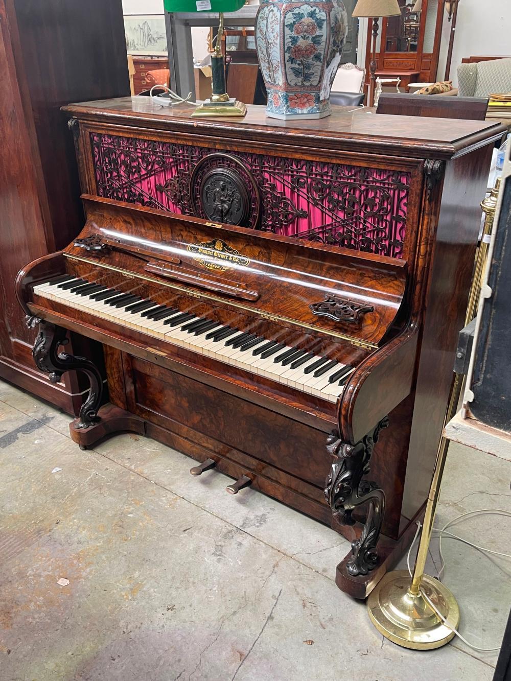 Antique Samuel Brewer & Co London upright piano, in figured walnut, approx 126cm H x 129cm W x 66cm D