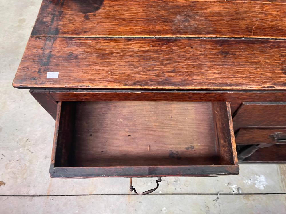 Antique early 19th century English oak six drawer pot board dresser, open plate rack to top, approx 139cm W x 41cm D x 210cm H