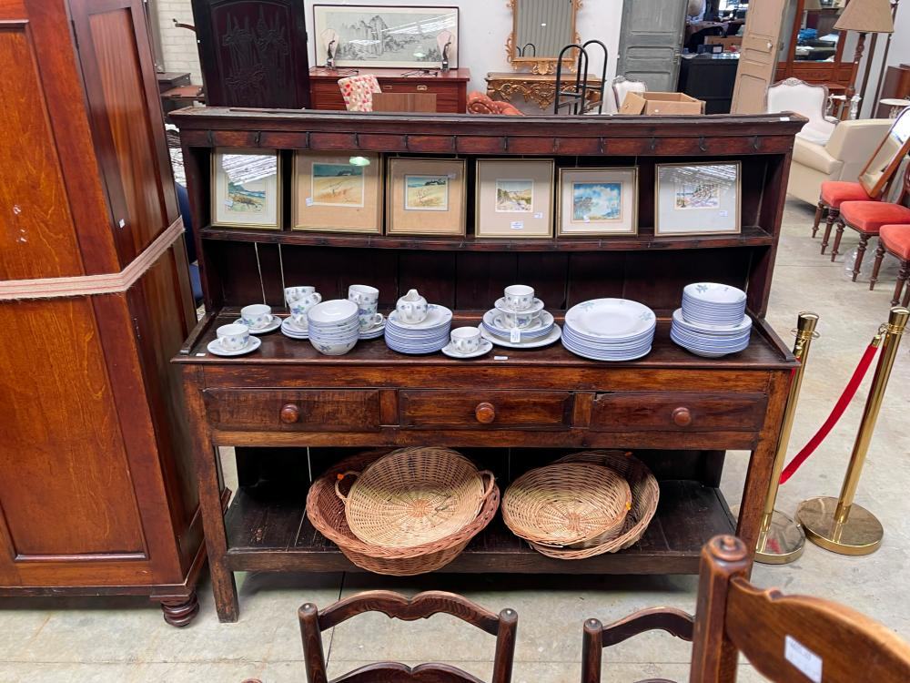 Distressed early 19th century English oak & pine three drawer dresser with pot board, plate rail back, mounted with hand forged nail hooks, approx 166cm H x 187cm W x 42cm D