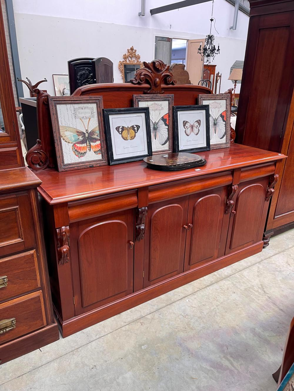 Antique Victorian cedar four drawer and door sideboard, approx 98cm H x 198cm W x 56cm D base only, top is removable, approx 70 cm high at the highest point of carving