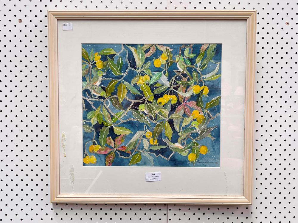 Eleonore Soloman, Tapestry of Birds and Berries, watercolour on paper, signed lower right and dated 06, 31 x 34 cm
