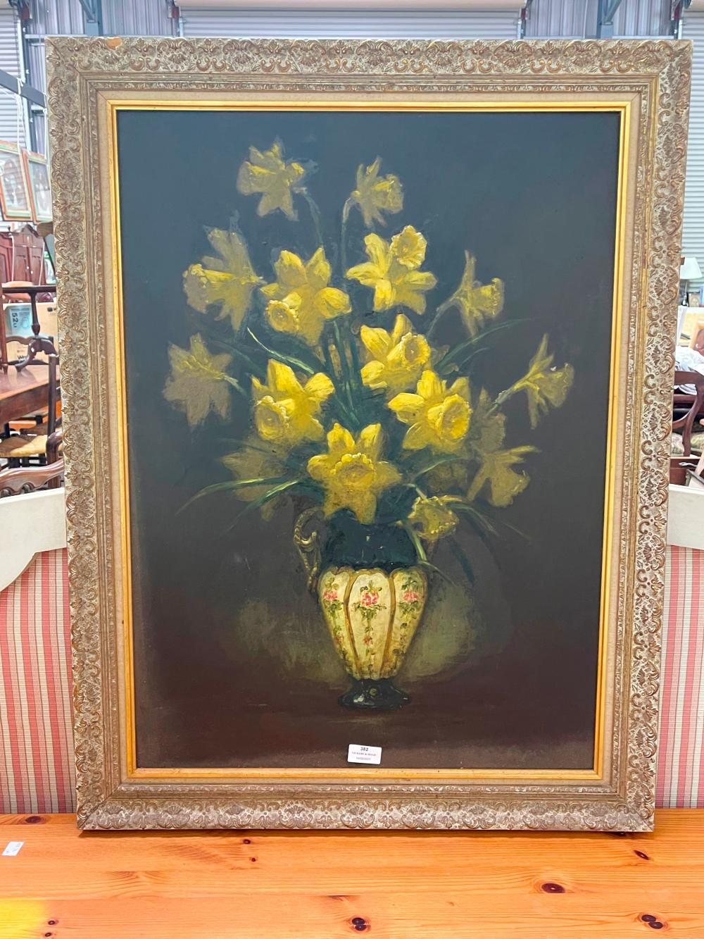 Unknown still life, of daffodil in a vase oil on board, From John Copes estate, approx 73cm x 53cm