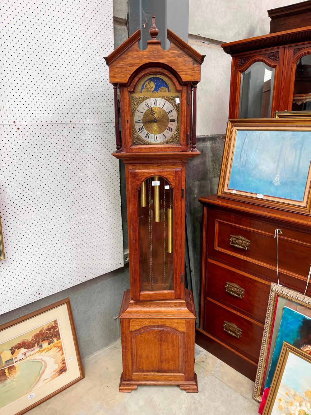 Modern oak long case clock, three train movement, approx 195cm H